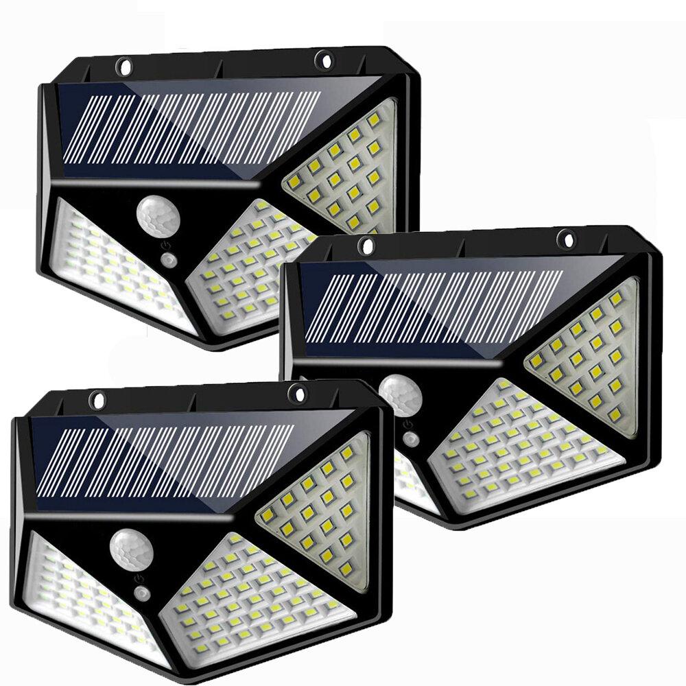 3pcs 100 LED Solar Powered PIR Motion Sensor Wall Light Outdoor Garden Lamp 3 Modes