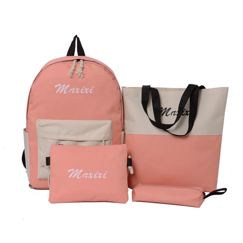 4 Pcs/Set Nylon Backpack Crossbody Bag Pencil Case Shoulder Bag Waterproof Student School Stationery Supplies