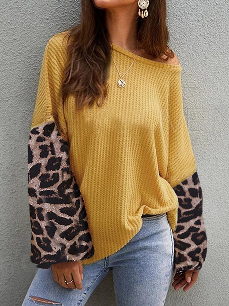 Casual Women Loose Lantern Sleeve Leopard Knit Sweaters