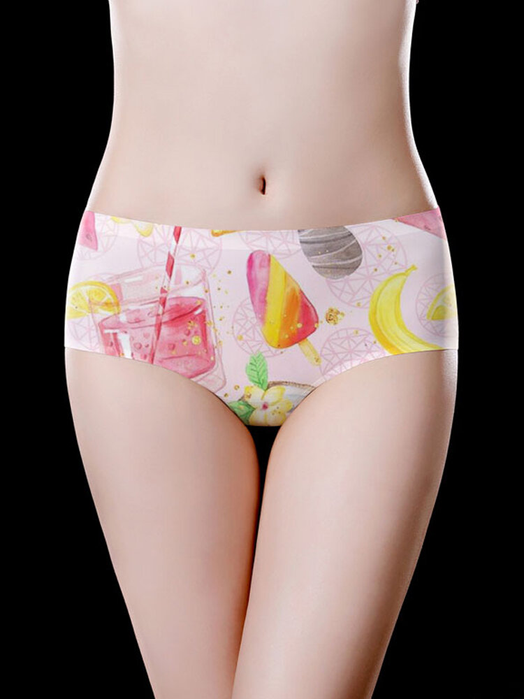 Seamless Cute Pattern Printing Ice Silk Low Waist Briefs