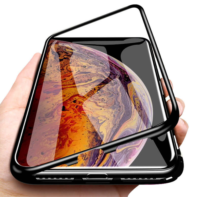 Bakeey Plating Magnetic Adsorption Metal Tempered Glass Protective Case for iPhone XS MAX XR X for iPhone 7 6 6S 8 Plus SE 2020 Back Cover