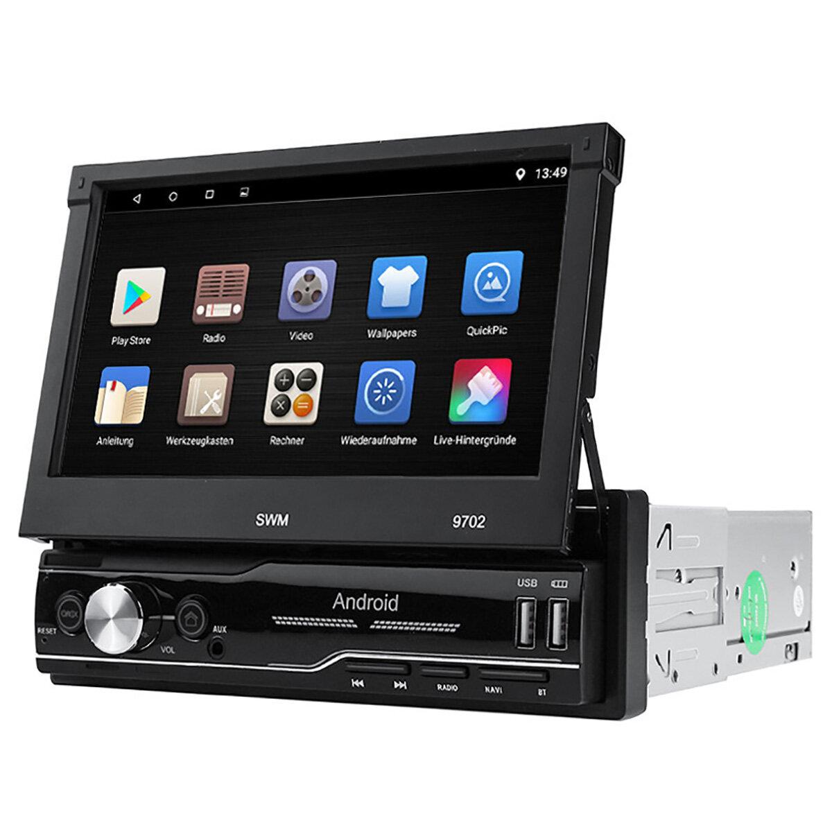 9702 7 pollici 1 Din per Android 8.1 Car Radio Stereo MP5 Player 4 Core 1 + 16G bluetooth GPS Touchscreen telescopico retrattile Wifi AUX FM