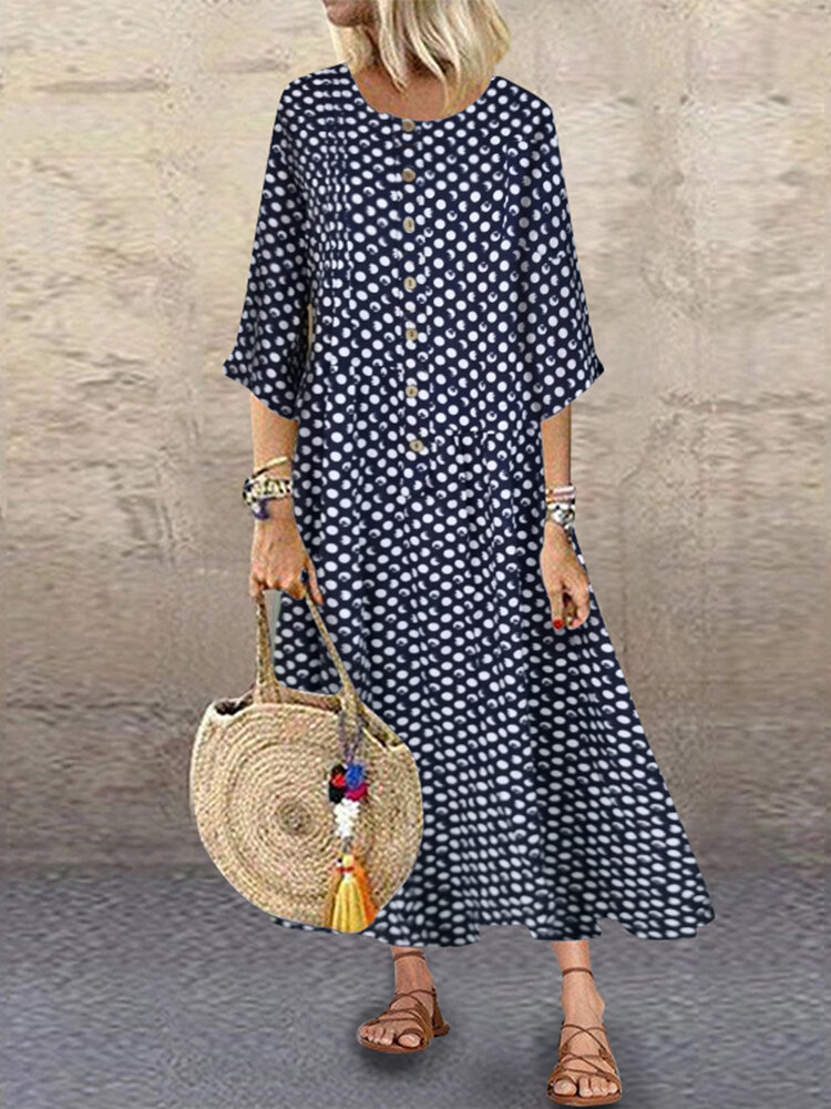 Women Loose 3/4 Sleeve Crew Neck Polka Dot Vintage Long Maxi Dress