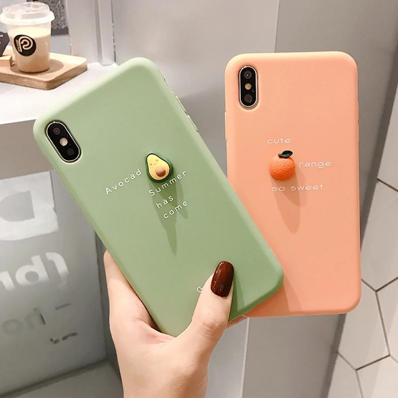 Bakeey 3D Candy Color Avocado Letter Pattern Soft TPU Protective Case for iPhone XS MAX XR X for iPhone 7 6 6S 8 Plus Back Cover