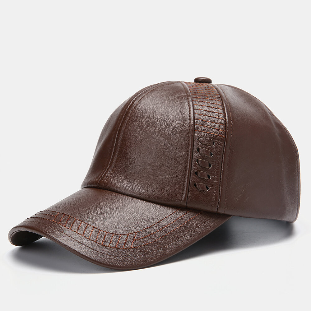 Men Artificial Leather Vintage Woven Baseball Cap Personality With Woven Hat