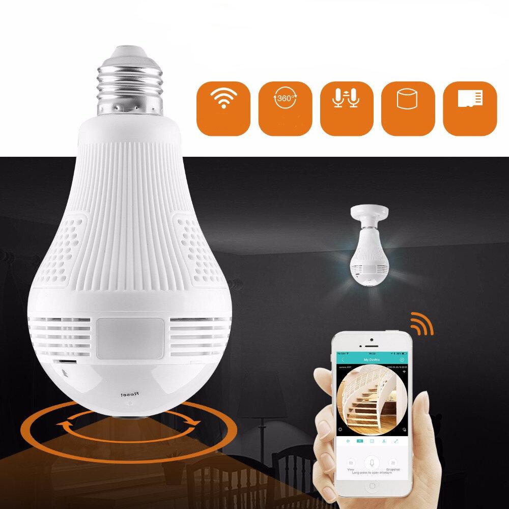 360° 960P Smart Wireless Camera LED Light Bulb FishEye CCTV 1.3MP Panoramic Security for Home AC100-240V