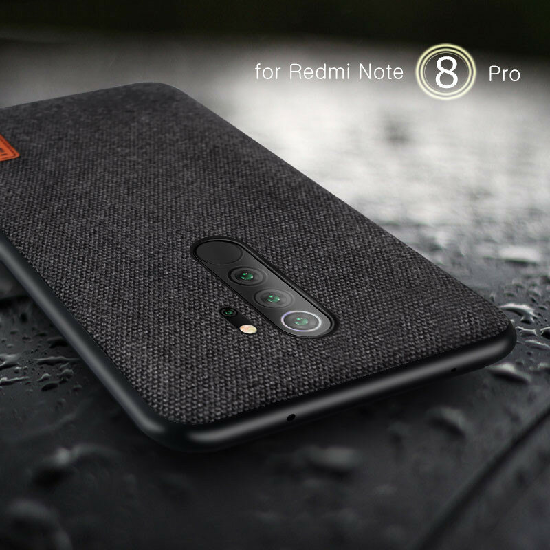 Bakeey Luxury Fabric Splice Soft Silicone Edge Shockproof Protective Case For Xiaomi Redmi Note 8 Pro