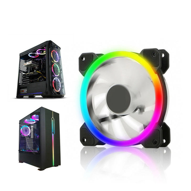 12CM 6 Pin 12 Modes Adjustable Colorful RGB LED Silent Computer Case Cooling Fan for PC Computer Case