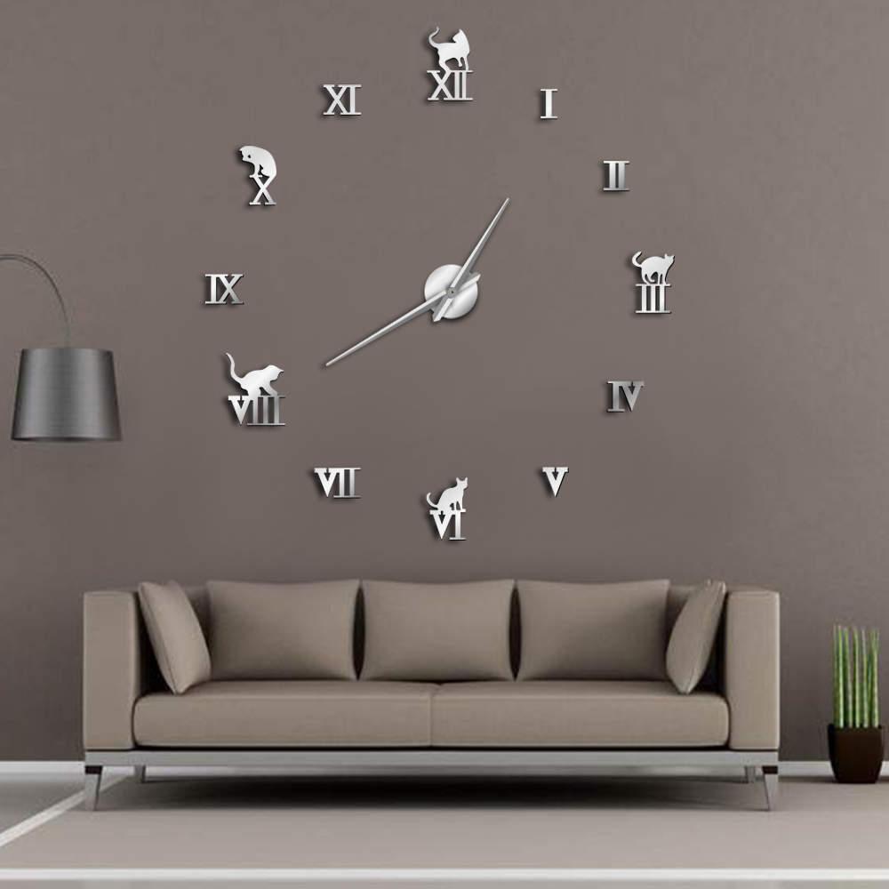 Large Number Stick-on Acrylic Home Decor 3D Art Modern Frameless DIY Wall Clock