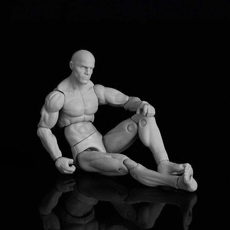 3.75/'/' PVC Female Male Body Joints Action Figure Gray Flesh Luxury Skin  *