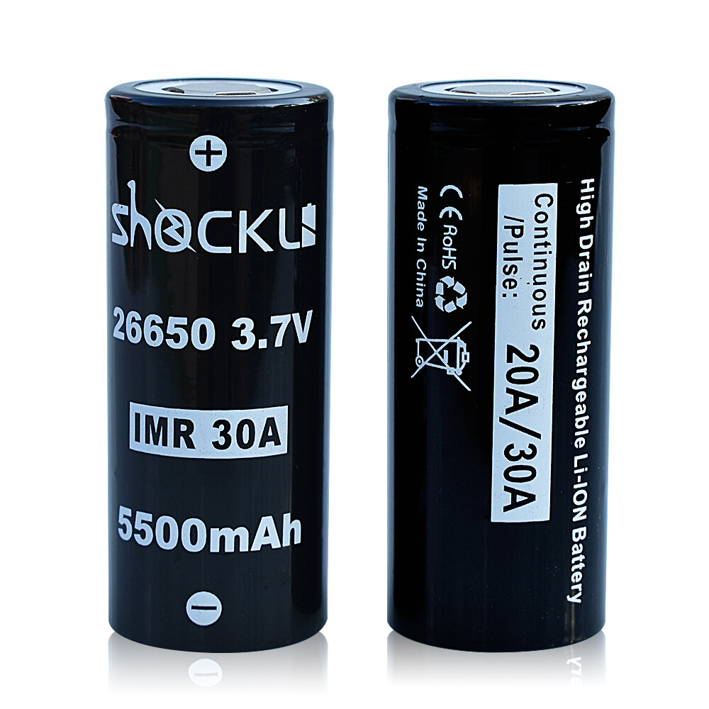 2PCS Shockli IMR 26650 3.7V 5500mah 30A Discharge Rechargeable Li ion Battery Flat top