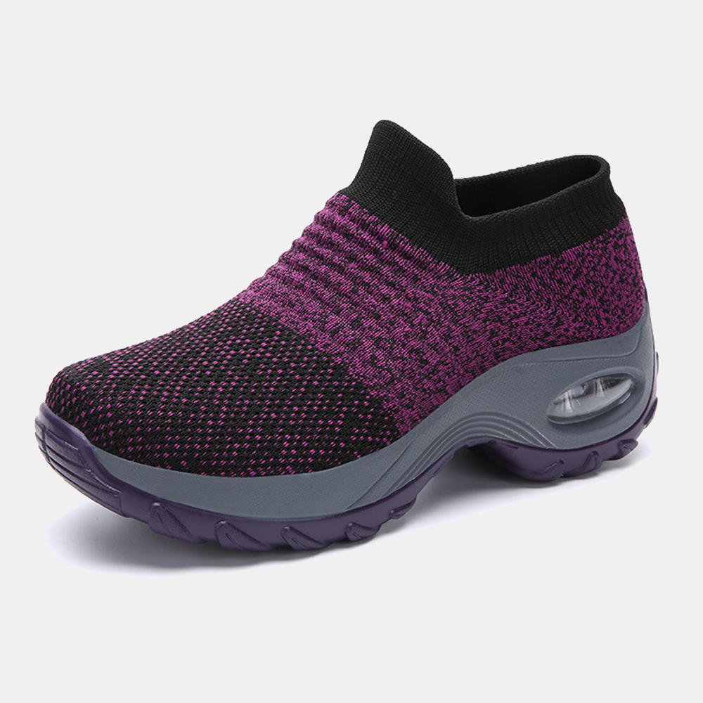 Large Size Women Outdoor Breathable Sock Mesh Rocking Sneakers