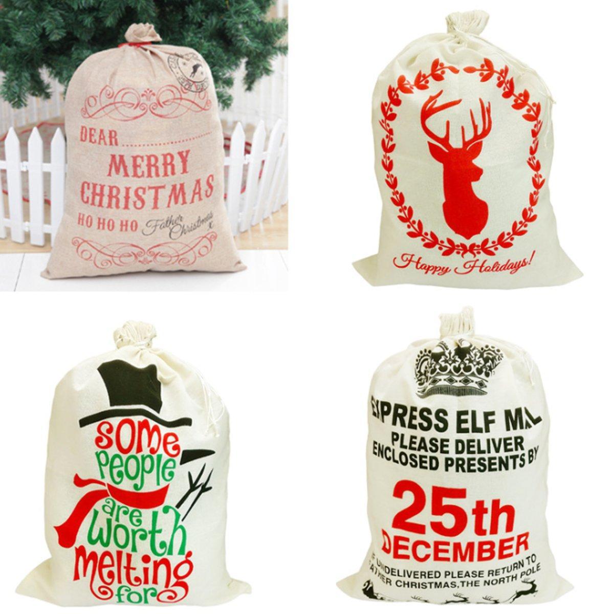 Giáng sinh Santa Quà tặng bao vải Kho lưu trữ Túi vải bố Gói trang trí Giáng sinh