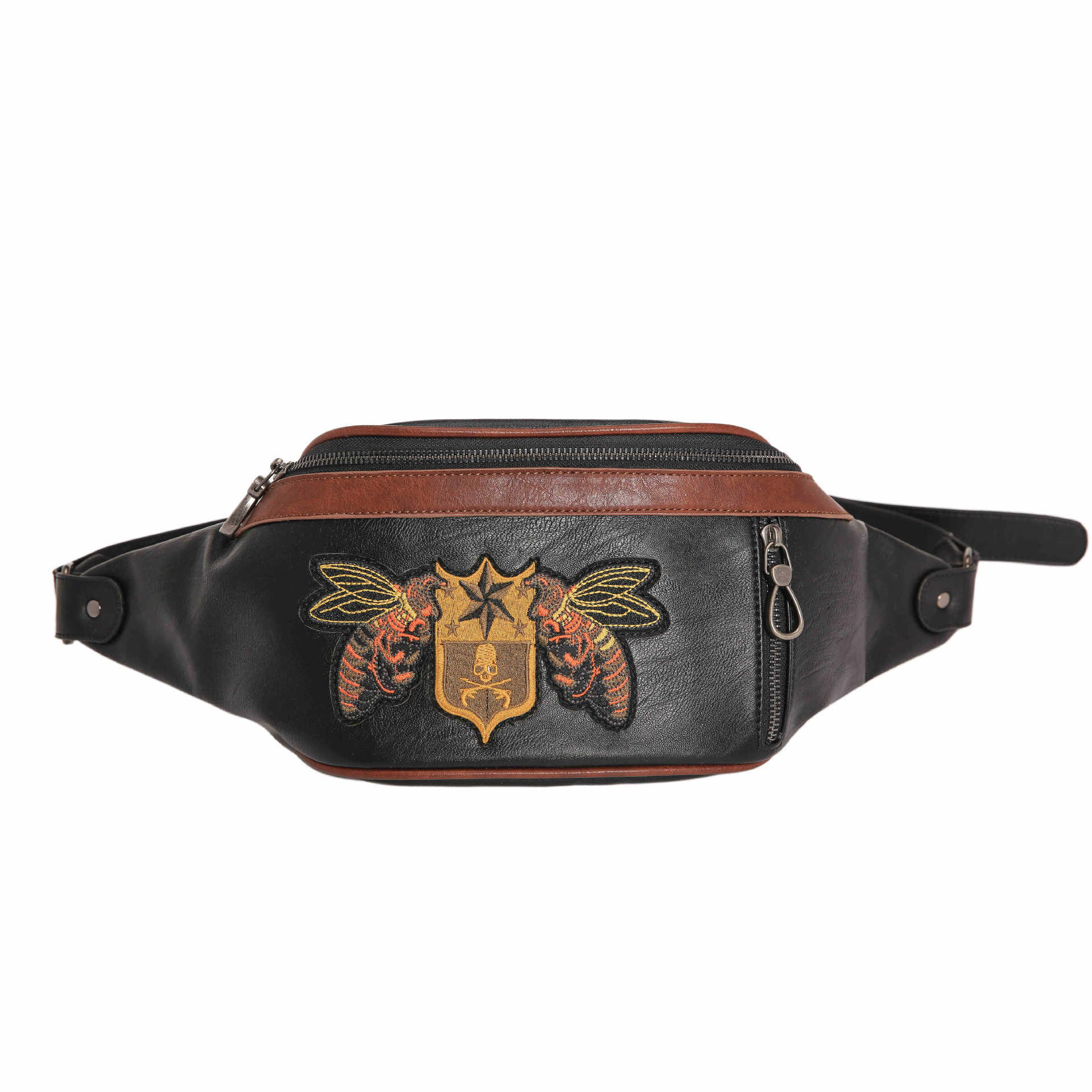 Men Embroidery Waist Bag with Adjustable Belt Strap for Outdoors Business Traveling Casual