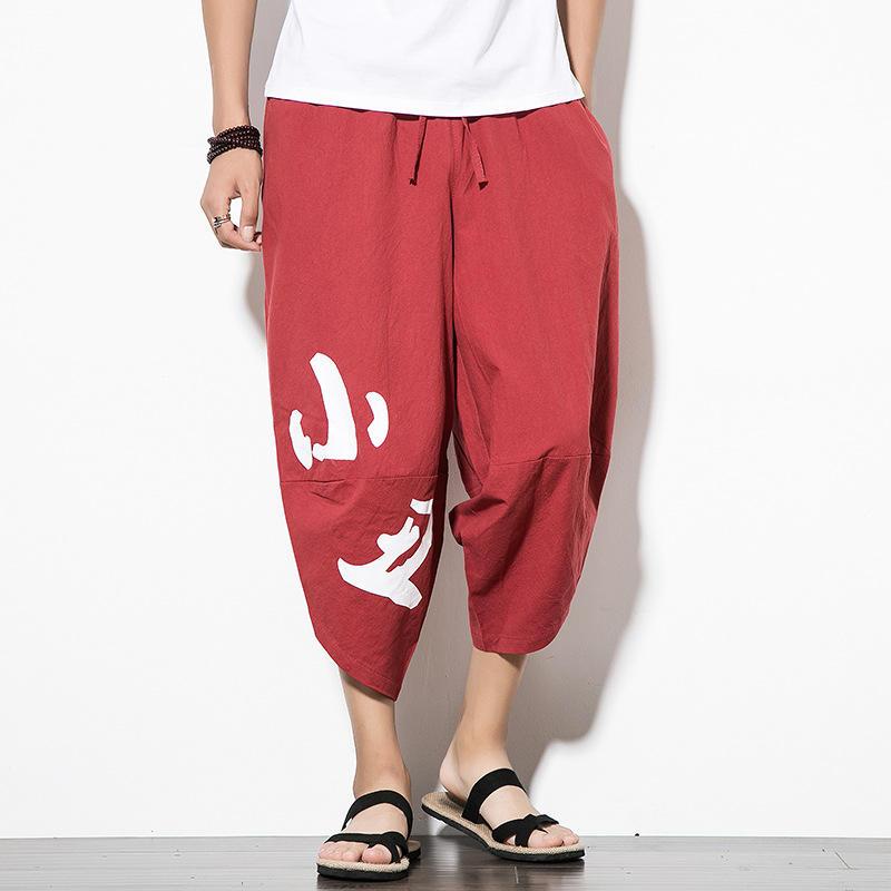 Men Leg Radish Pants Linen Cropped Pants Large Size Lantern Pants