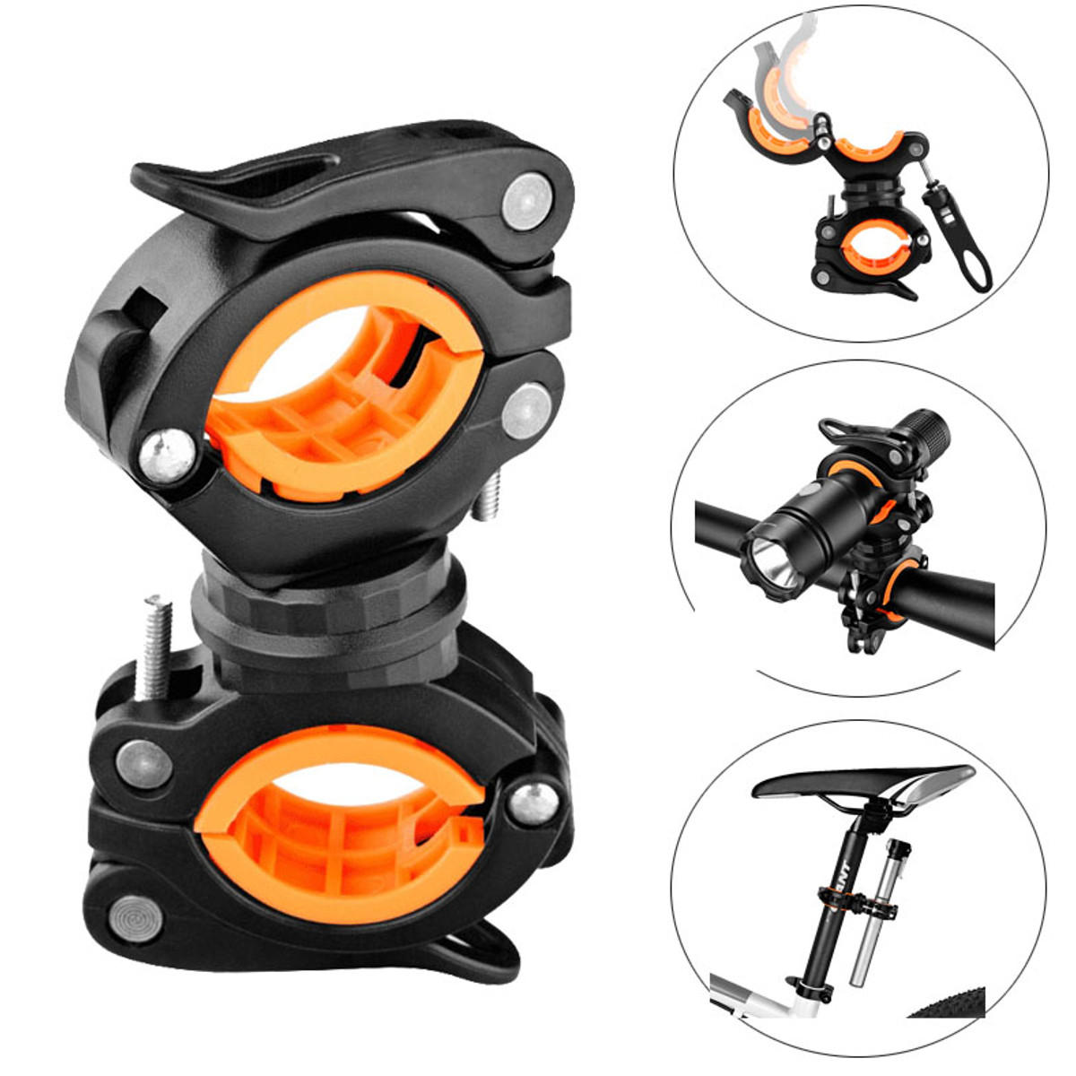 360° Rotation Bike Light Mount Flashlight Crutch Stick Cane Grip Holder Clamp Bracket For Electric Bicycle Scooter