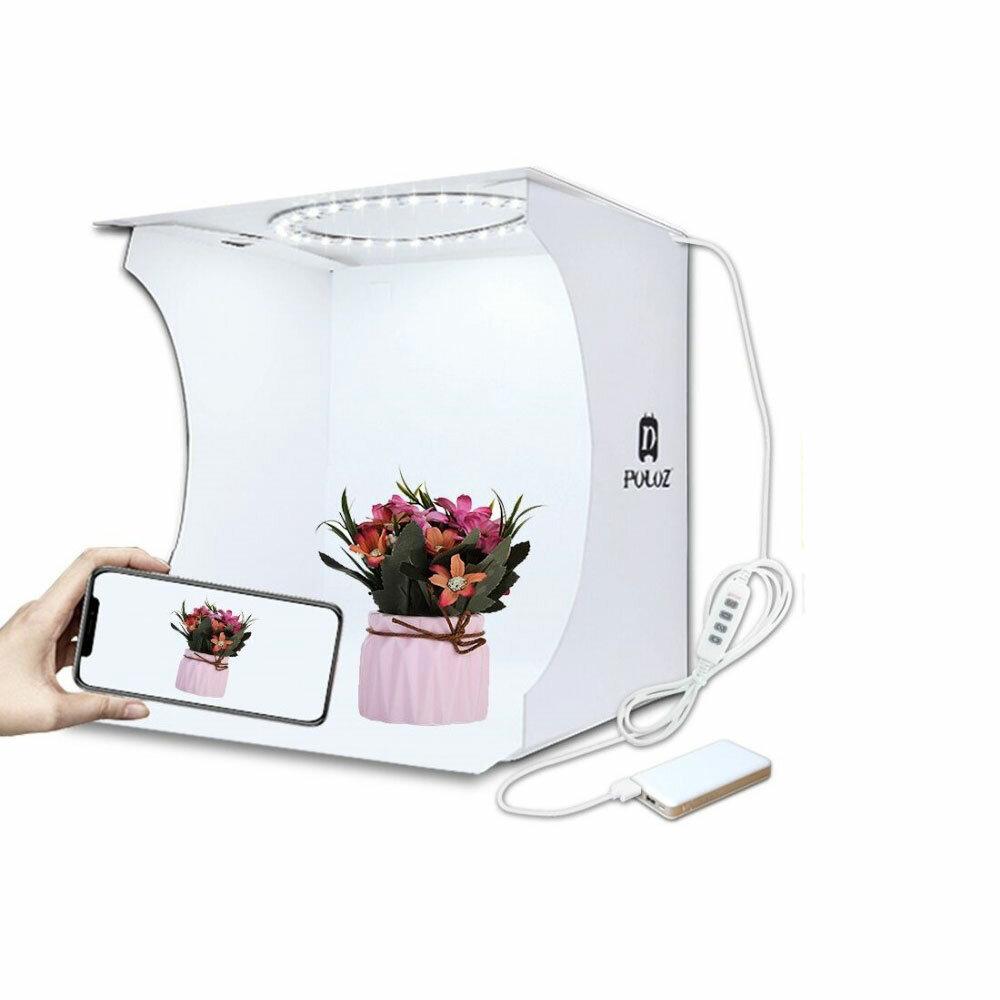 PULUZ PU5023 20cm Anillo de luz Portátil plegable Mini tienda de tiro Lightbox Softbox con telón de fondo