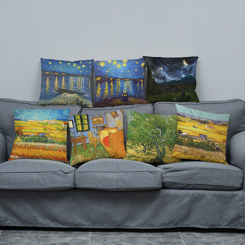 Abstract Starry Oil Painting Cotton Linen Pillow Case Waist Cushion Cover Bags Home Car Deco