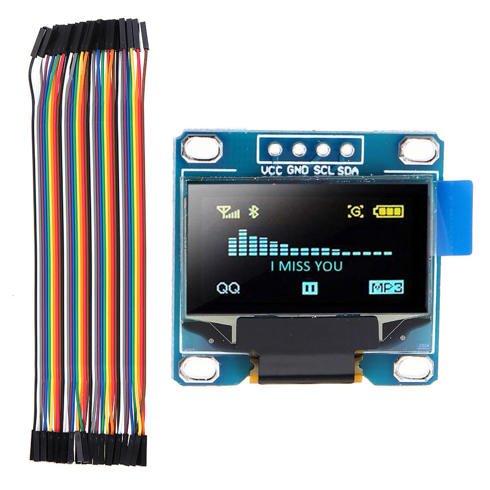 0.96 Inch OLED I2c IIC LCD Screen Module + F-F Dupont Line 12864 128x64 Display Module Geekcreit for Arduino - products that work with official Arduino boards