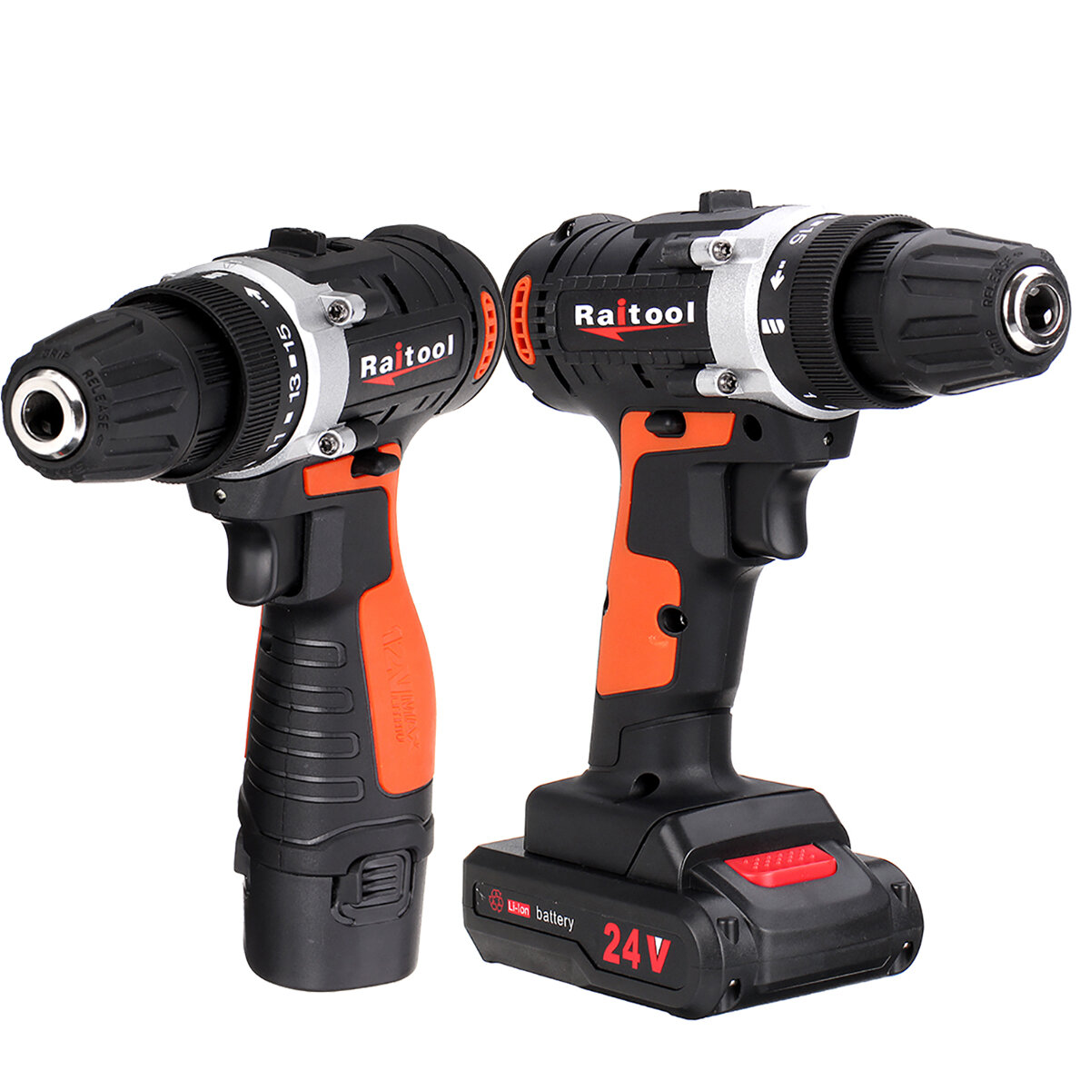 Raitool 12V/24V Lithium Battery Power Drill Cordless Rechargeable 2 Speed Electric Drill