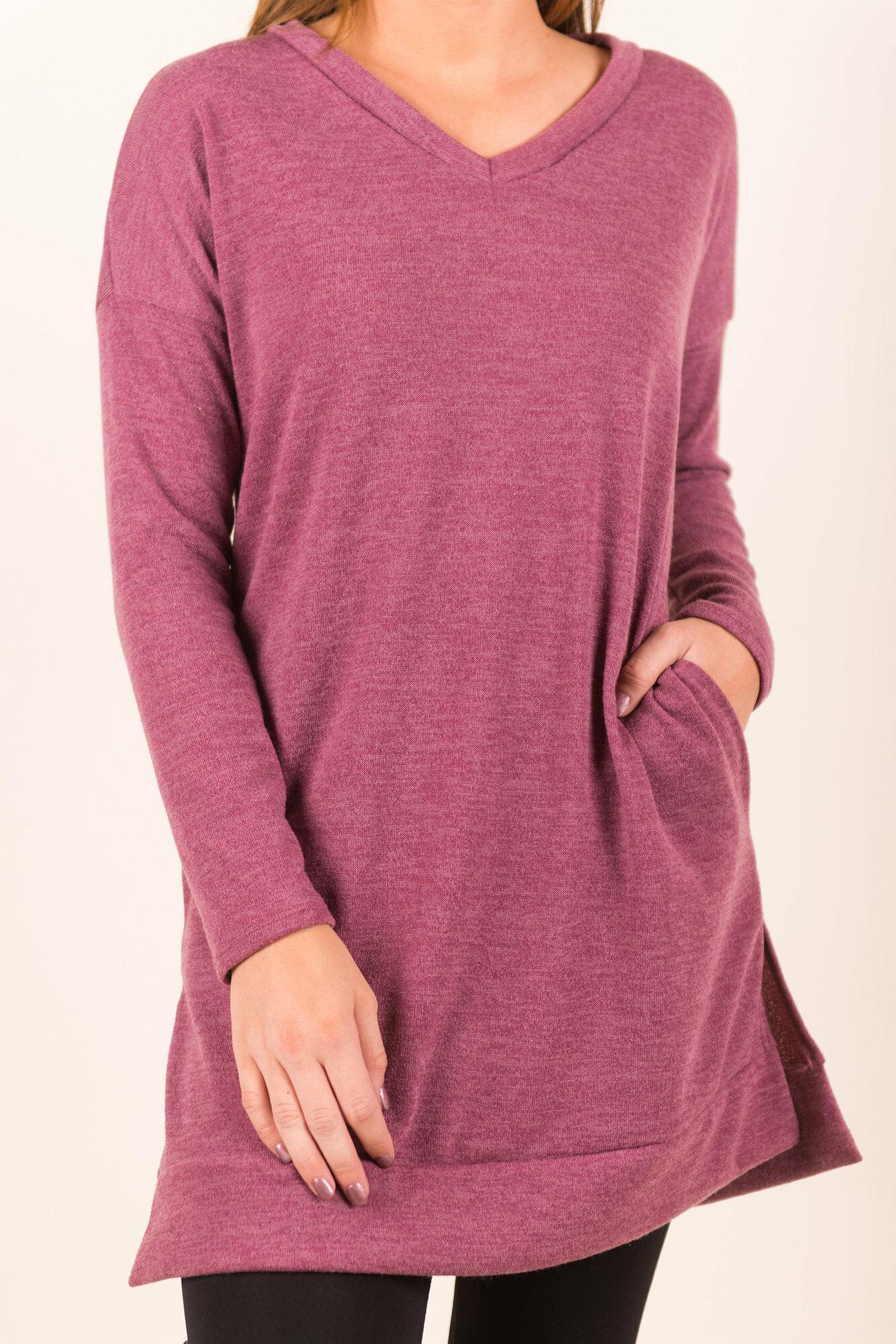 Women Long Sleeve Causal V Neck Solid Pockets Pullover Sweatshirt
