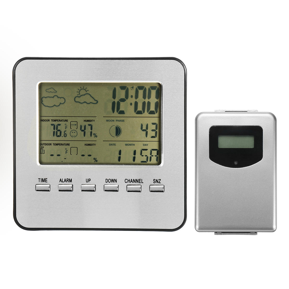 Wireless Weather Station Hygrometer Temperature Humidity Alarm Snooze Clock Date