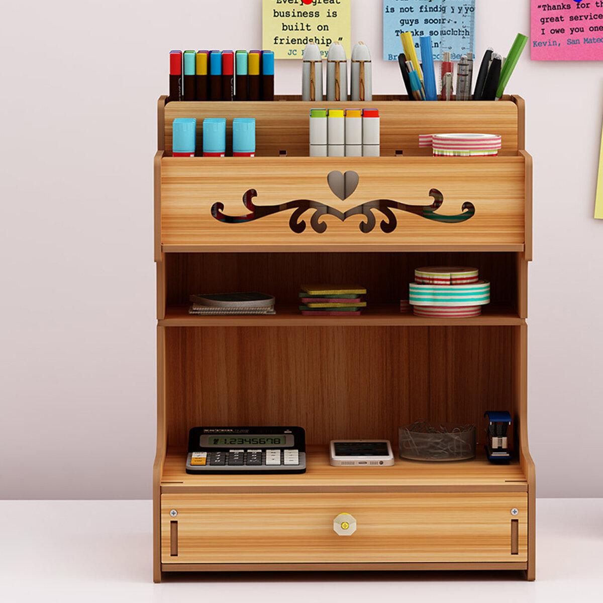 Wooden Desk Organizer Multi-Functional DIY Pen Holder Box Cell Phone Holder Desktop Stationary Home Office Supplies Storage Rack with Drawer