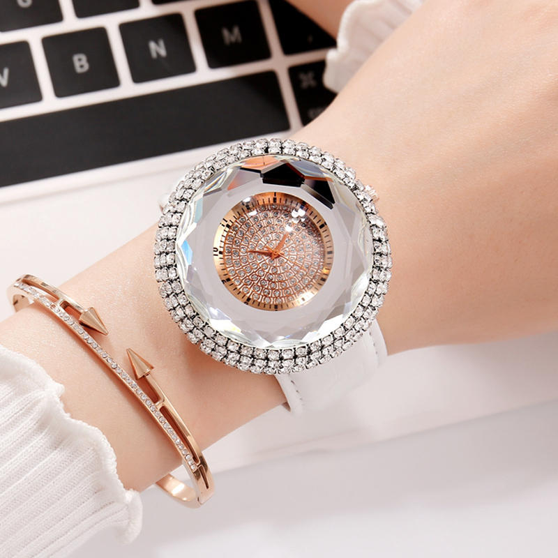 Đồng hồ đeo tay nữ kim cương Deffrun thiết kế thanh lịch Đồng hồ đeo tay nữ dây đeo bằng da PU