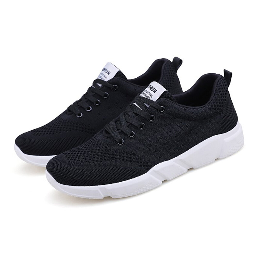 Men Breathable Knitted Lightweight Soft Running Walking Sneakers