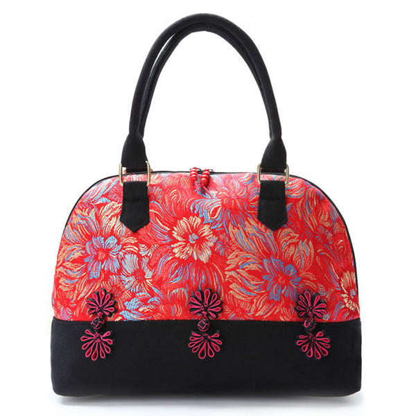Elegant Women National Style Silks and Satins Canvas Shell Tote Handbags