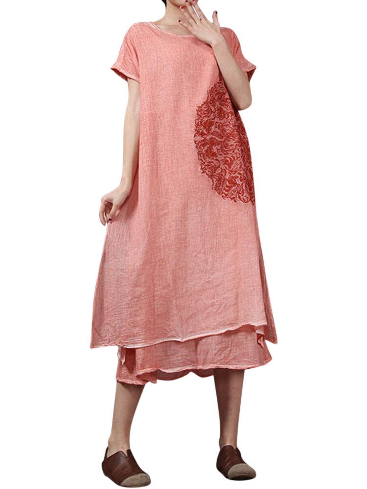 ヴィンテージルーズ2つのピースの刺繍の女性のドレス