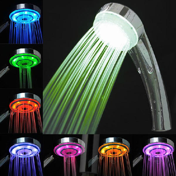 LED 7 Colors Random Changing Hydroelectric Generation Shower Head