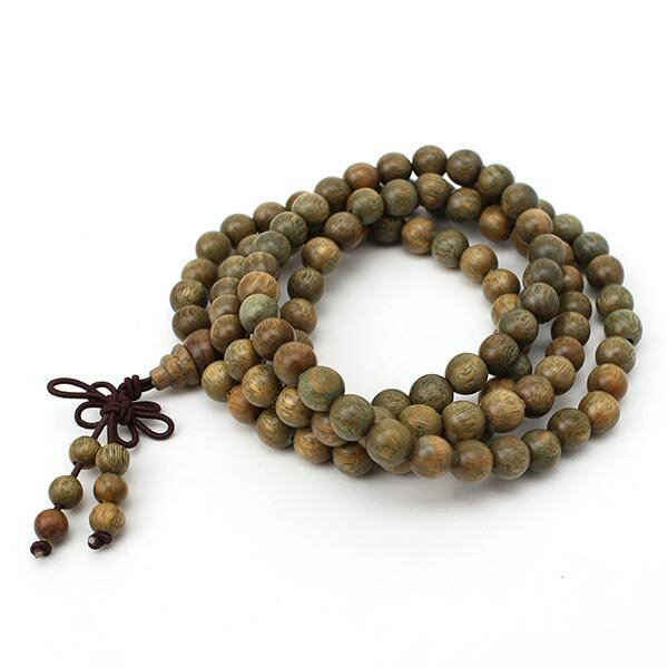 8mm 108 Verde Sándalo Budista Prayer Bead Mala Collar Pulsera