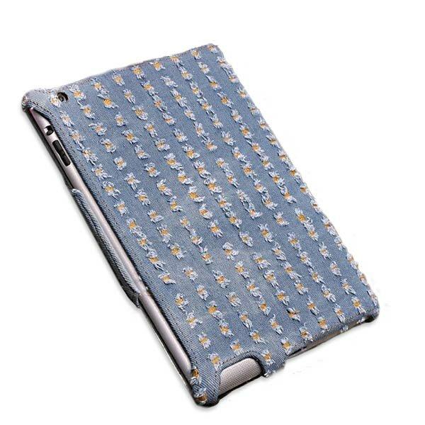 Denim Fabric Microfiber Embossing Heat Styling Skin Case For iPad 2 3