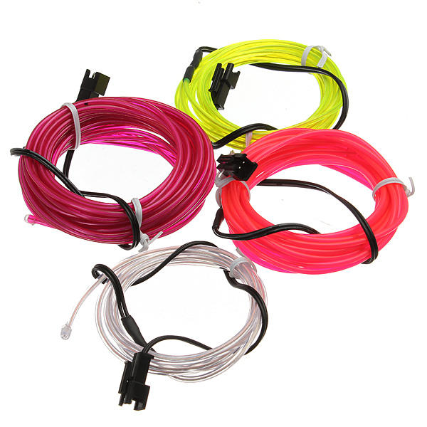 2M Neon Light Glow EL Wire Car Rope Strip + Car Charger Driver