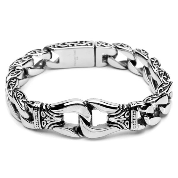 65113e317acb Silver Tone Mens 316L Stainless Steel Bracelet Vintage Jewelry