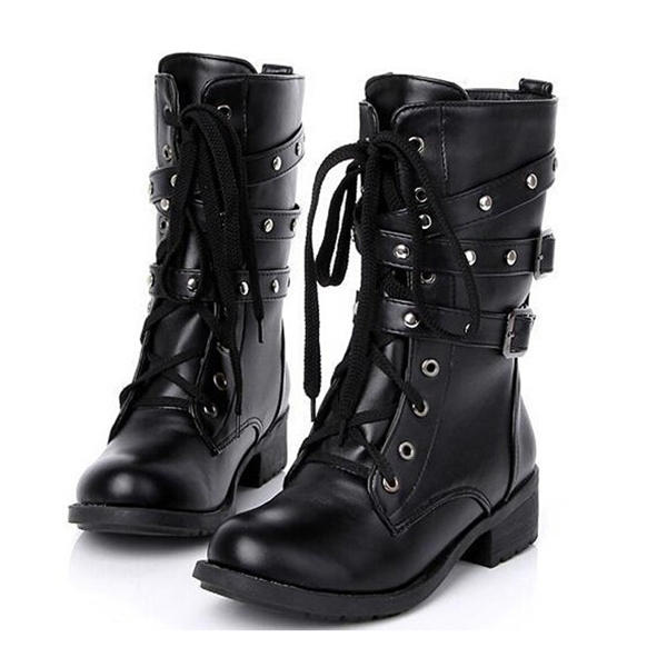 Motorcycle Boots Women Cool Goth Punk Anklemilitary Lace Up Black