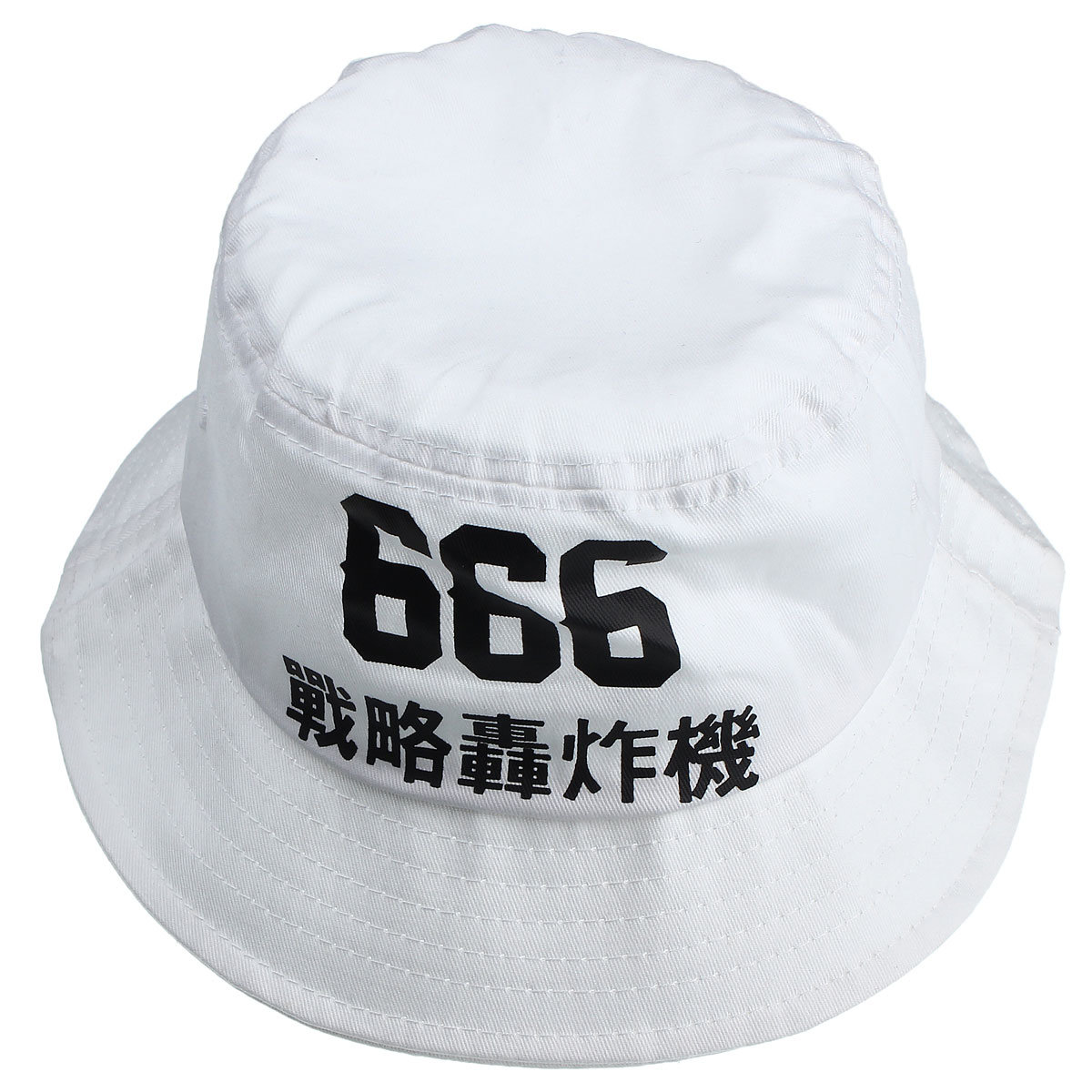 56884f78 666 Embroidery Fisherman Cap White Cotton Bucket Fishing Boonie Hat