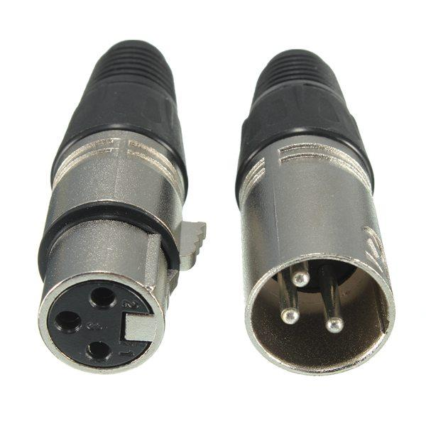 Male and 3-Pin XLR Microphone Audio Cable Plug Connectors Xlr Microphone Cable Splitter Wiring Diagram on