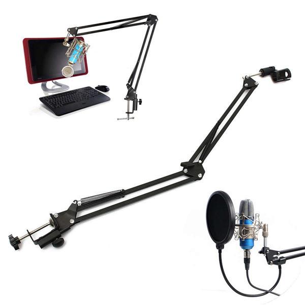 Microphone Suspension Boom Scissor Arm Stand Holder For Broadcast