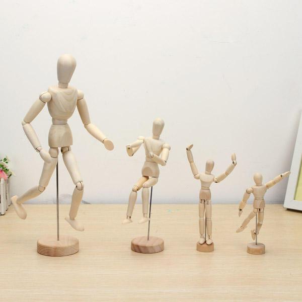 Muñeca articulada de madera Hombre Figuras Modelo Pintura Boceto de dibujos animados