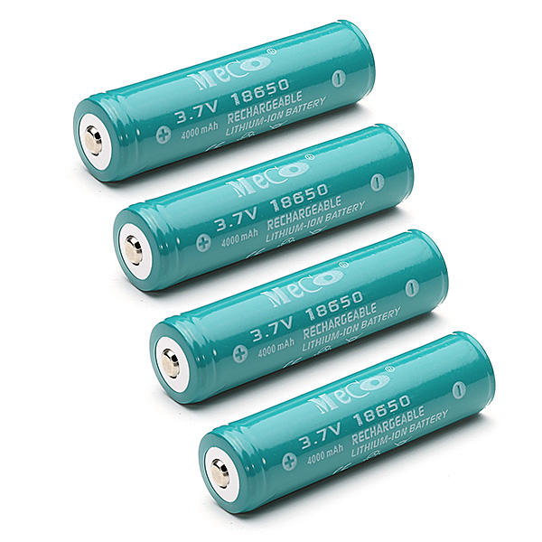 4шт Меко 3.7 4000mAh аккумуляторный защищеный 18650 литий-ионный аккумулятор батарея