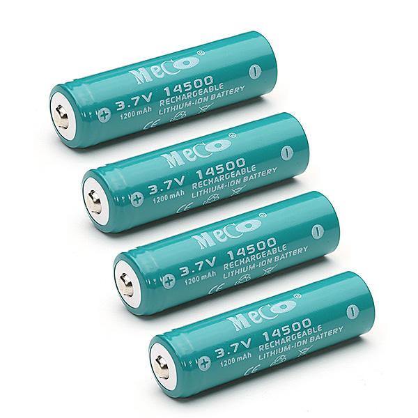 4шт Меко 3.7 1200mAh перезаряжаемый 14500 литий-ионный аккумулятор Батарея