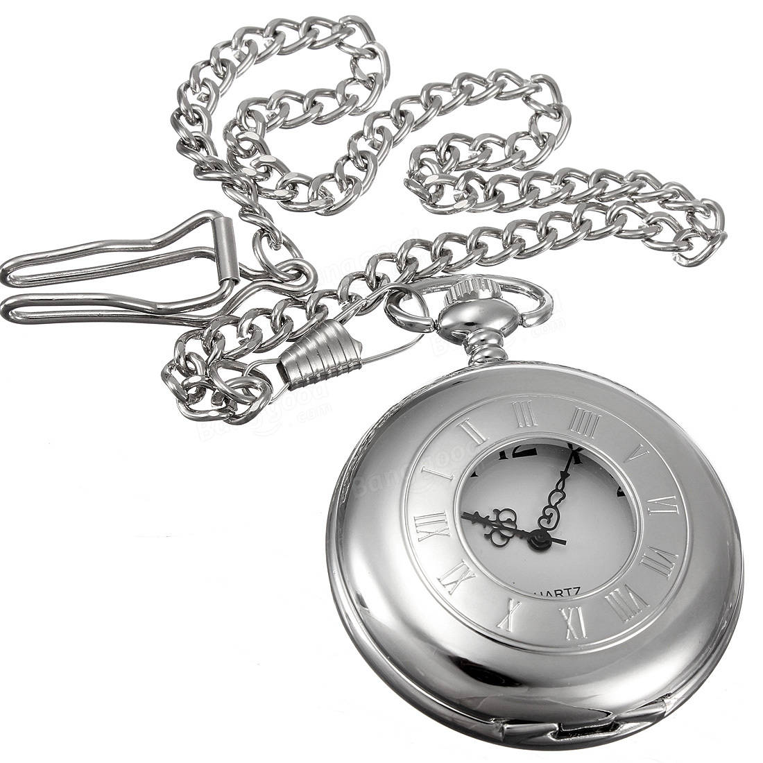 Antique Style Stainless Steel Silver Tone Quartz Pocket Watch Chain
