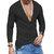 Cuello en v para hombre Botones Color sólido transpirable Manga larga Camisetas ocasionales Tops