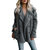 Plus Size Women Fleece Lapel Pure Color Button Pockets Warm Jacket Coats