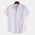Men Linen Stand Collar  Solid Color Short-sleeved Shirts