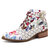 SOCOFY Handmade Painting Stitching Genuine Leather Zipper Ankle Boots