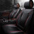6D Full Surround Black&Red Front+Rear PU Leather Car Seat Cover Set For 5 Seat Car