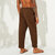 Men Corduroy Drawstring Solid Color Vintage Pants
